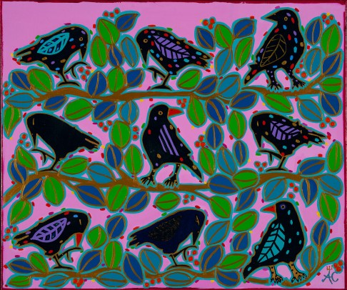 Chartrand - Bird nation pink sky in the morning 342 - 20x24 - 480$