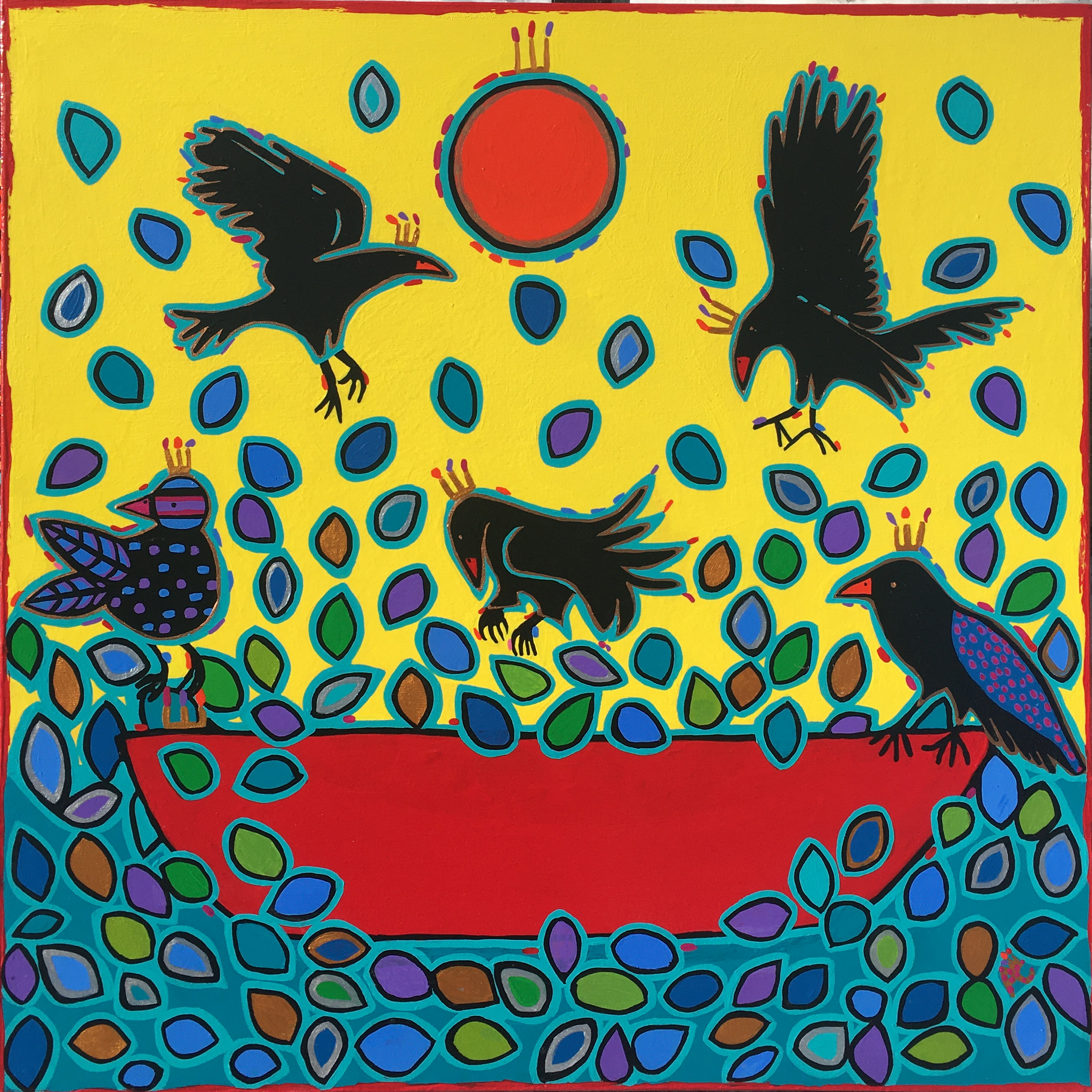 Chartrand - Raven tricksters and red canoe #422 - 24x24 - 575$