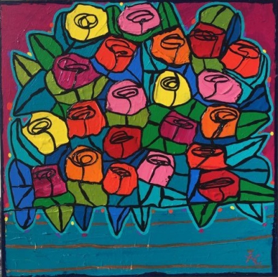 Chartrand - Roses for her #405 - 14x14 - 200$