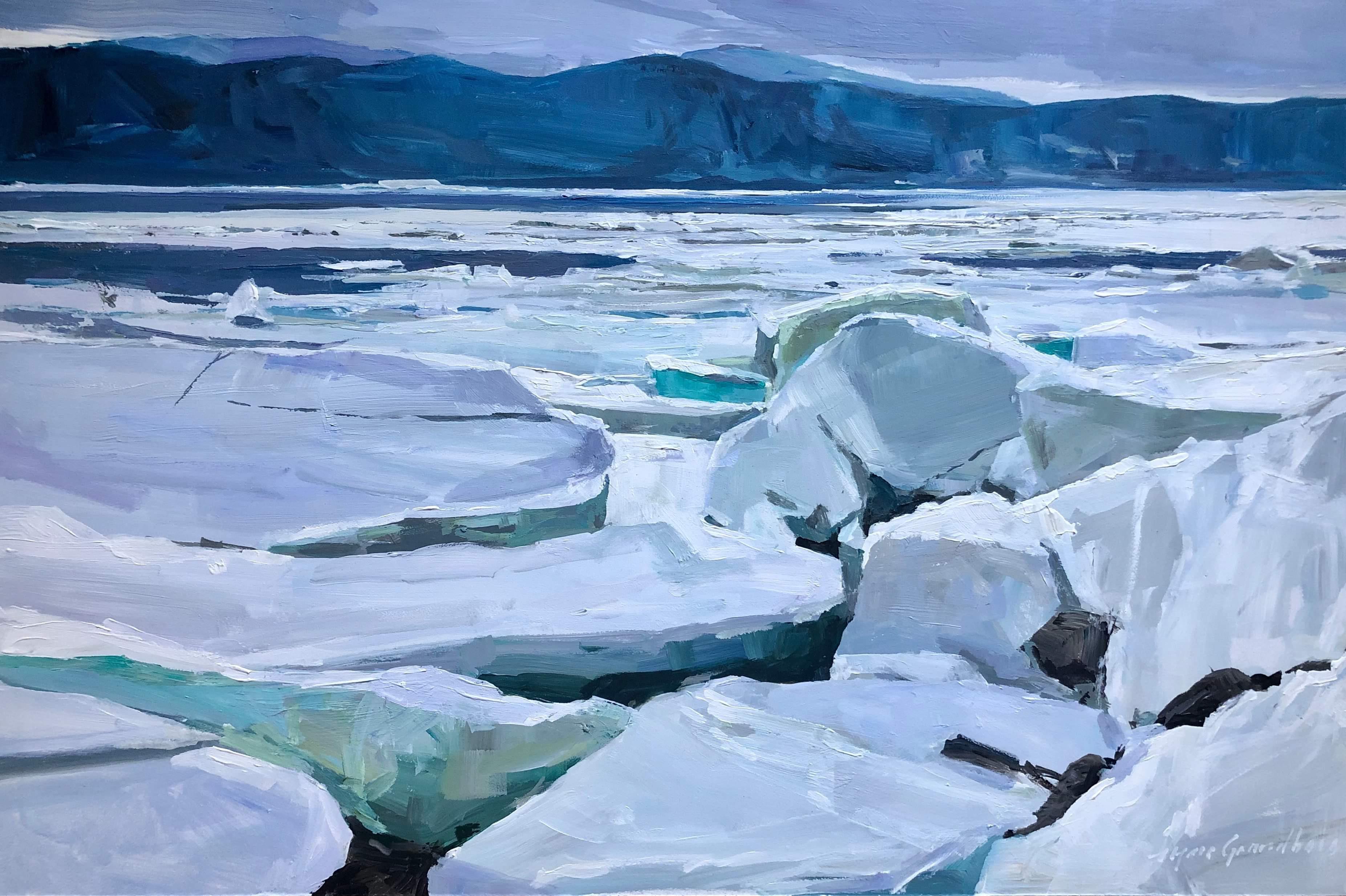 Grandbois - Glaces sur la rivière Saguenay - 16x24 - 1080$