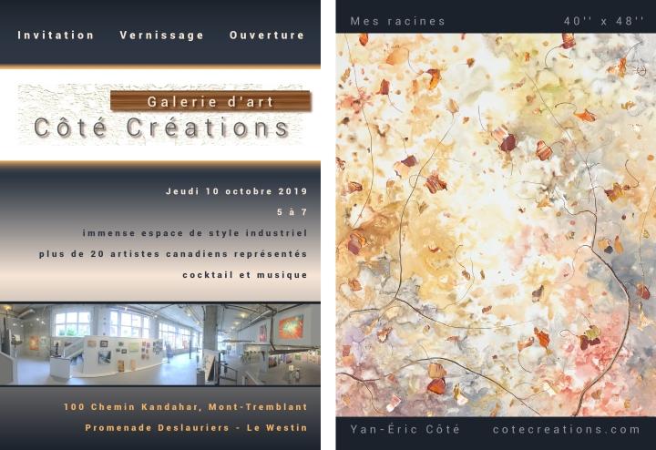 Galerie d'art Côté Créations - Invitation vernissage d'ouvert